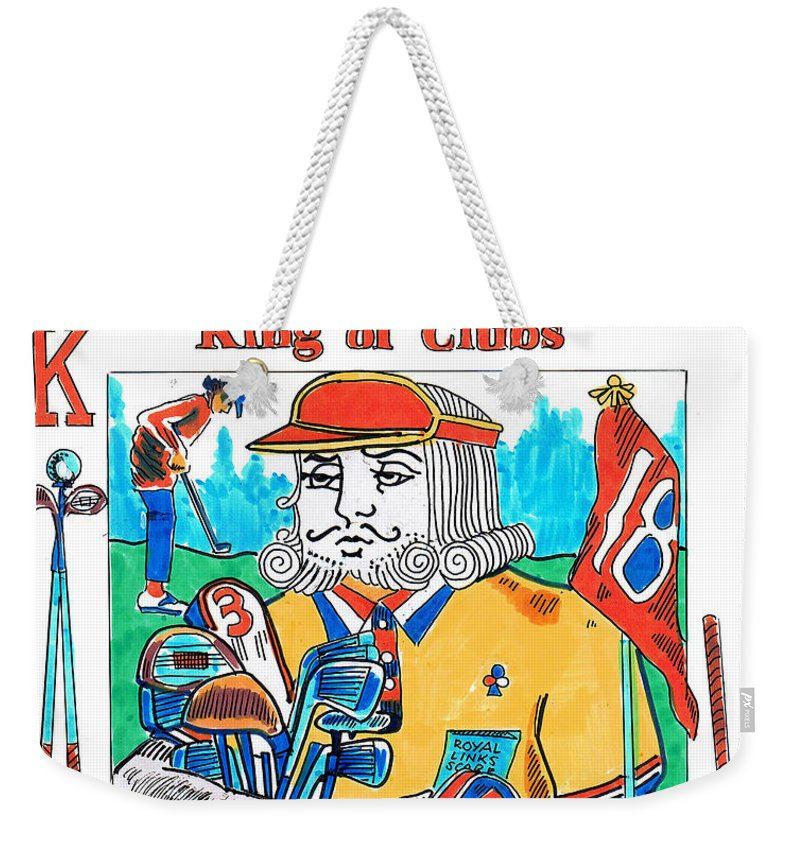 Modern King O'clubs Weekender Tote Bag featuring the drawing Modern King O' Clubs by Seth Weaver