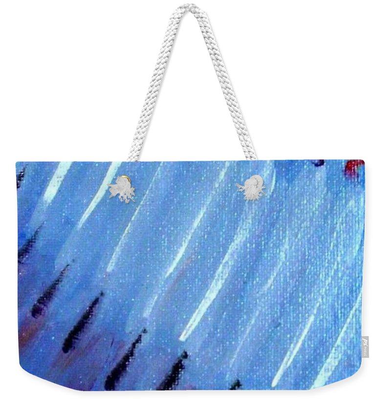 Menorah Weekender Tote Bag featuring the painting Modern Menorah by Laurie Morgan