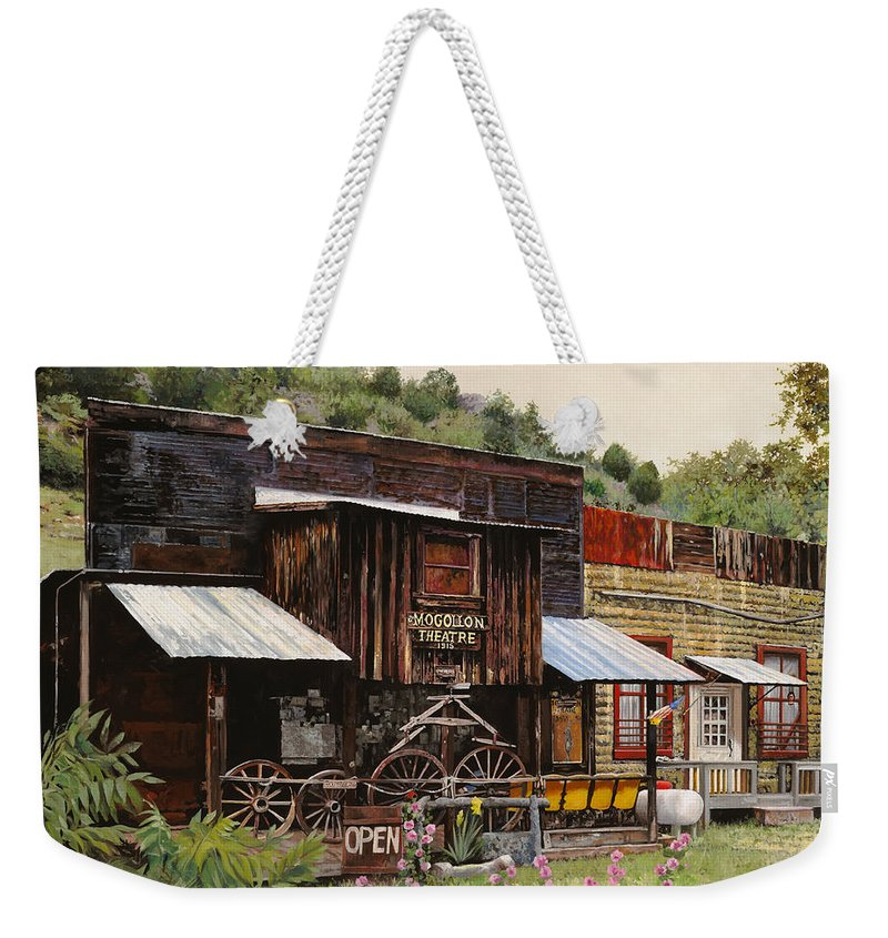 Theatre Weekender Tote Bag featuring the painting Mogollon-theatre-new Mexico by Guido Borelli