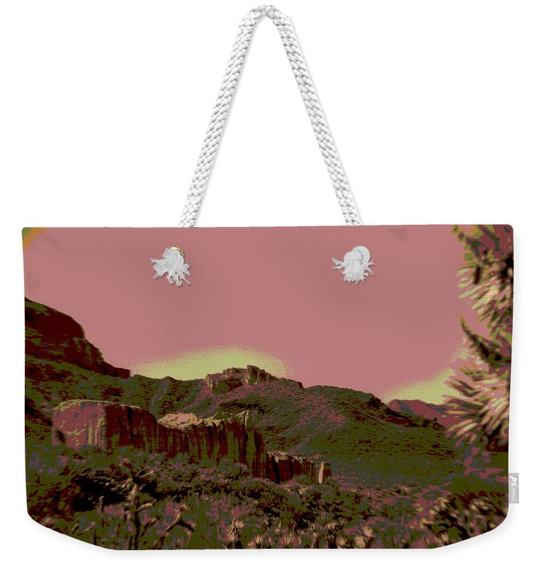 Mojave Weekender Tote Bag featuring the photograph Mojave Desert In Mauve by Sharon McLain