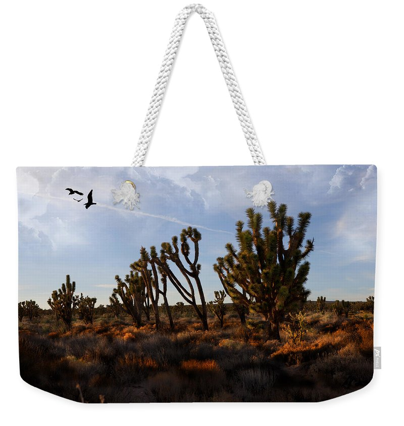 Evie Weekender Tote Bag featuring the photograph Mojave Desert Joshua Tree With Ravens by Evie Carrier