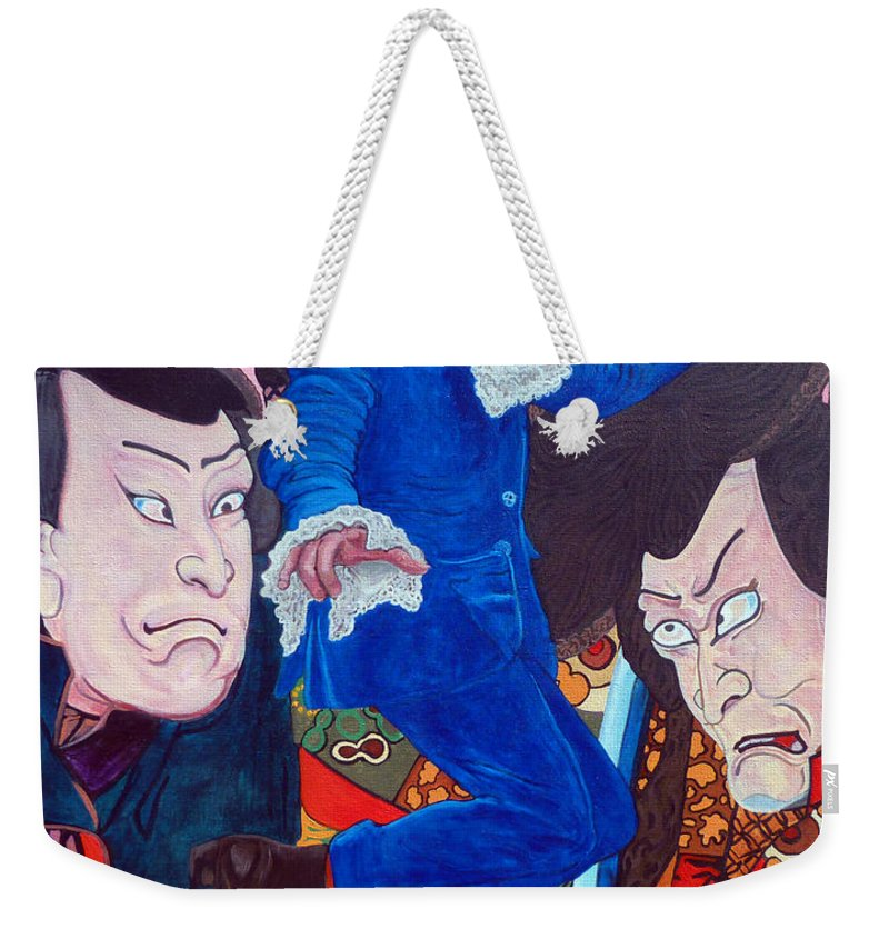 Austin Powers Weekender Tote Bag featuring the painting Mojo Baby by Tom Roderick