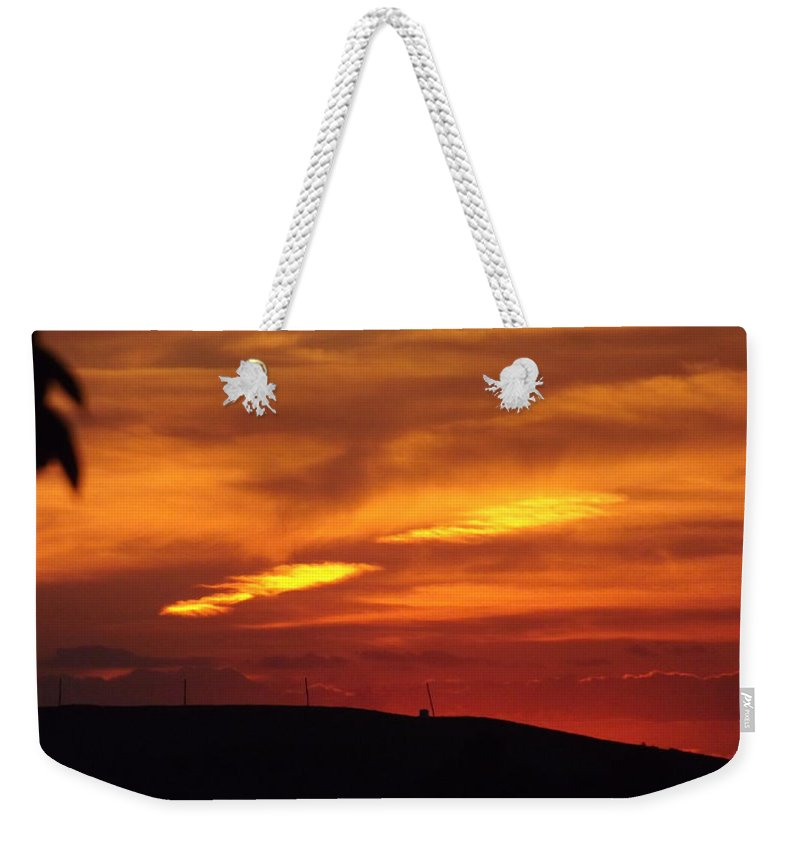 Sky Weekender Tote Bag featuring the photograph Molten Evening by Shelley Blair