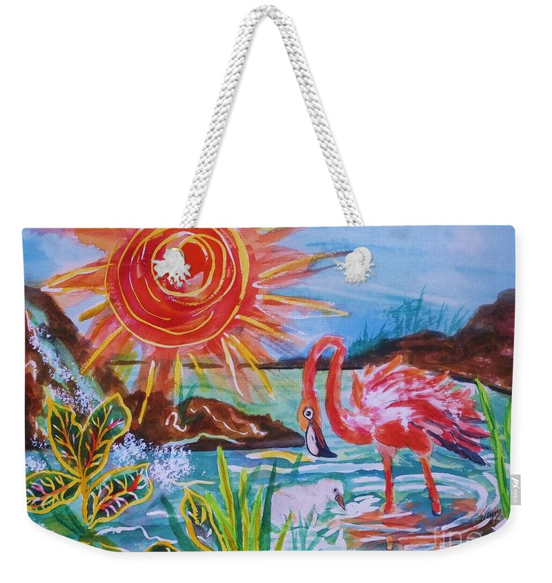 Pink Flamingo Weekender Tote Bag featuring the painting Momma And Baby Flamingo Chillin In A Blue Lagoon by Ellen Levinson