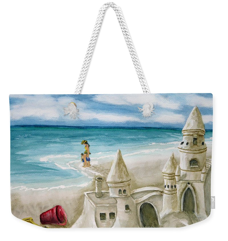 Woman Weekender Tote Bag featuring the painting Mommy And Me Sandcastles by Kathy Przepadlo
