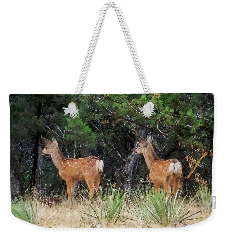 Deer Weekender Tote Bag featuring the digital art Mommy Where Are You by Ernie Echols