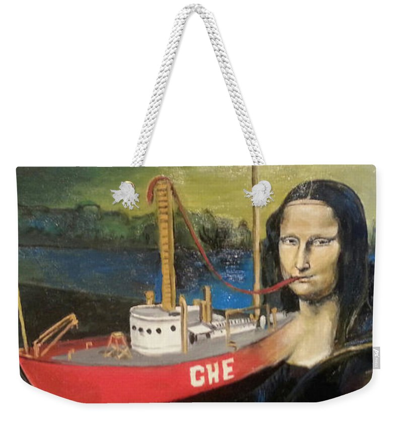 Mona Lisa Weekender Tote Bag featuring the painting Mona Lisa Unfinished by Jude Darrien