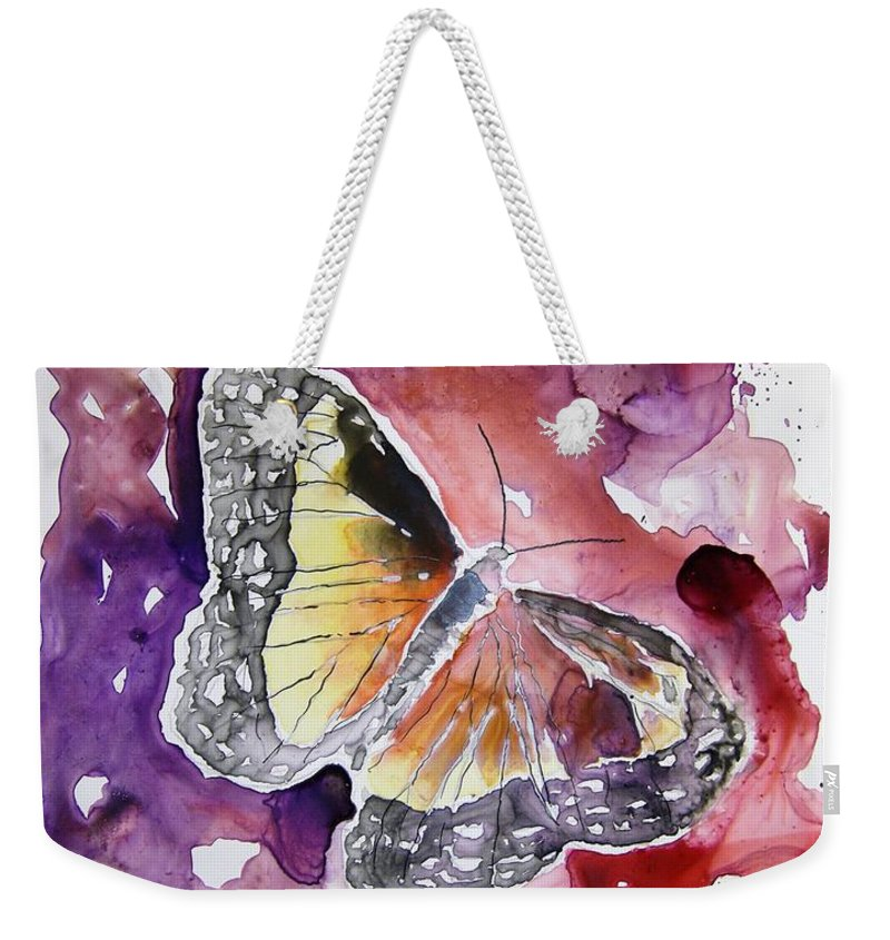 Monarch Weekender Tote Bag featuring the painting Monarch Butterfly by Derek Mccrea
