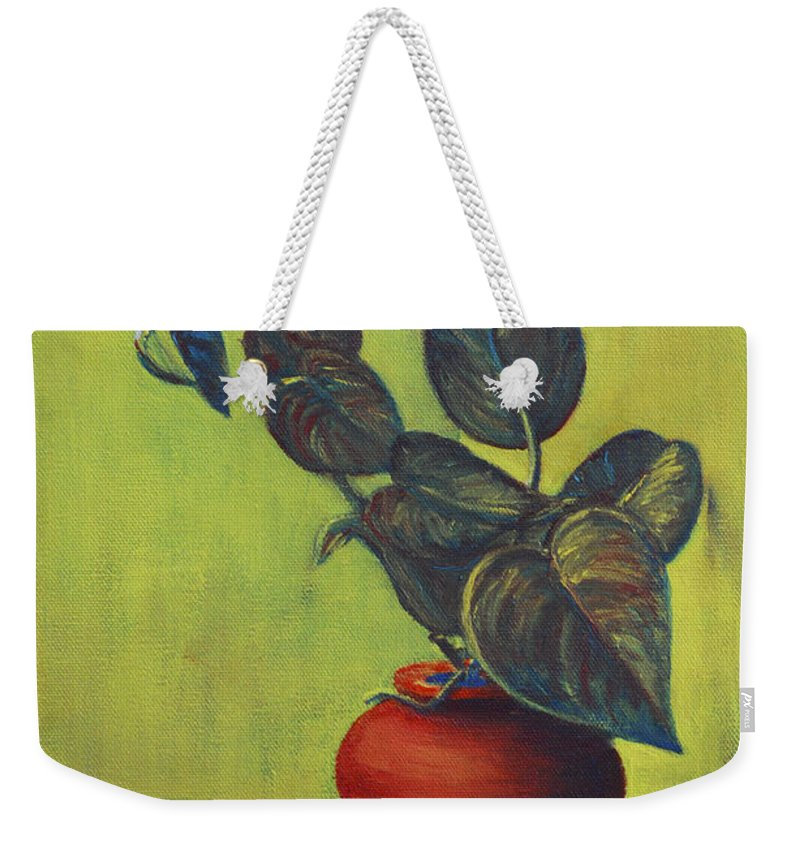 Money Plant Weekender Tote Bag featuring the painting Money Plant - Still Life by Usha Shantharam