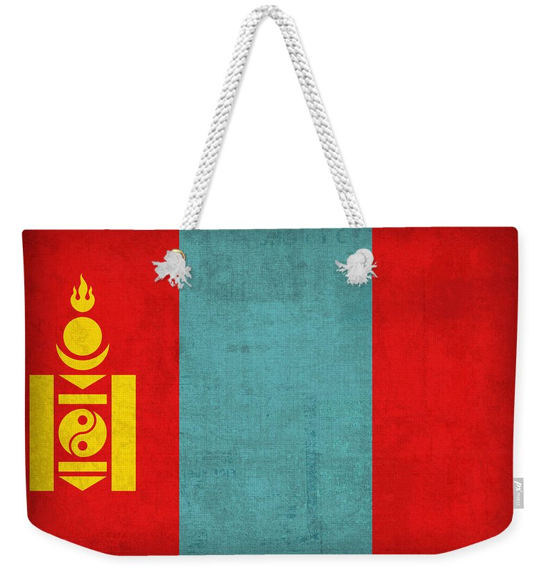 Mongolia Flag Vintage Distressed Finish Weekender Tote Bag featuring the mixed media Mongolia Flag Vintage Distressed Finish by Design Turnpike
