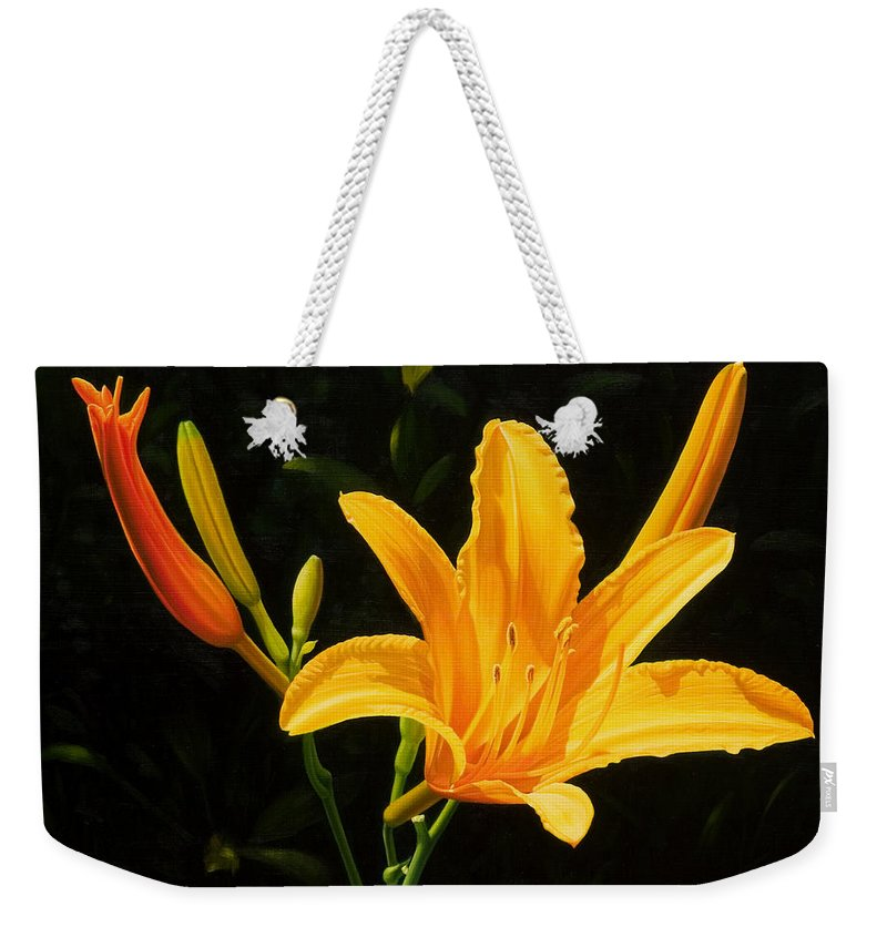 Floral Weekender Tote Bag featuring the painting Monikas Lily by Gary Hernandez