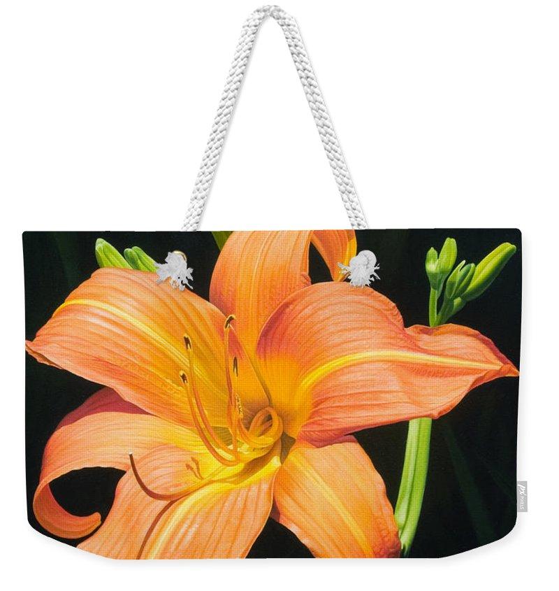 Floral Weekender Tote Bag featuring the painting Monikas Orange Lily by Gary Hernandez