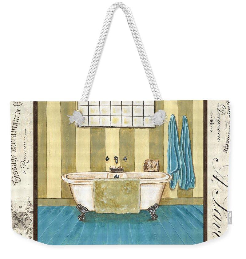 Bath Weekender Tote Bag featuring the painting Monique Bath 2 by Debbie DeWitt