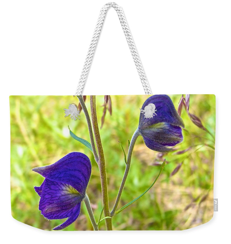 Monkshood On Alpine Tundra Trail By Eielson Visitor's Center Weekender Tote Bag featuring the photograph Monkshood On Alpine Tundra Trail At Eielson Visitor's Center In Denali Np-ak by Ruth Hager