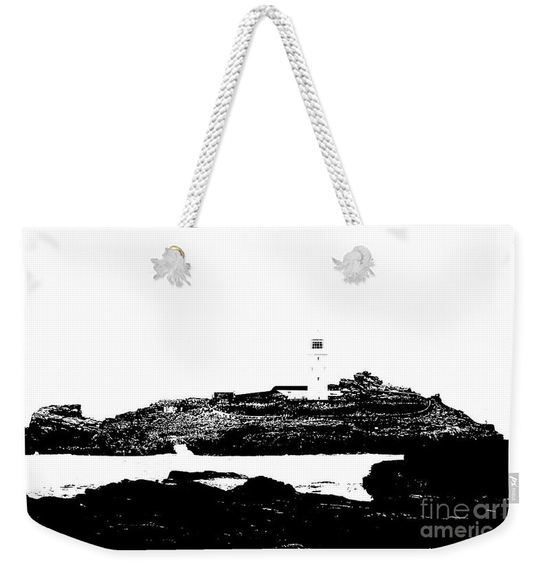 Godrevy Island Weekender Tote Bag featuring the photograph Monochromatic Godrevy Island And Lighthouse by Terri Waters