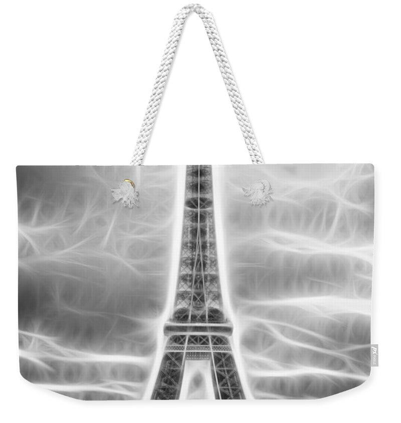 Fractal Weekender Tote Bag featuring the photograph Monochrome Eiffel Tower Fractal by Pati Photography