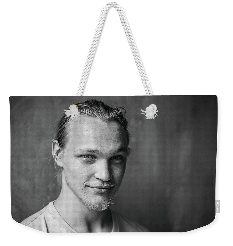 Young Men Weekender Tote Bag featuring the photograph Monochrome Portrait Of A Cool And by Sami Sert