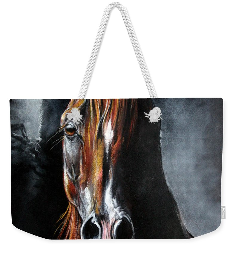 Stallion Weekender Tote Bag featuring the drawing Monogramm by Angel Ciesniarska