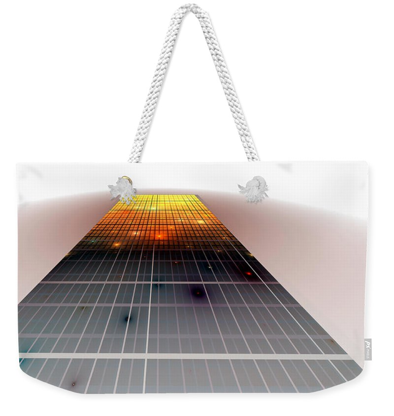 Fractal Weekender Tote Bag featuring the digital art Monolith by Richard Ortolano