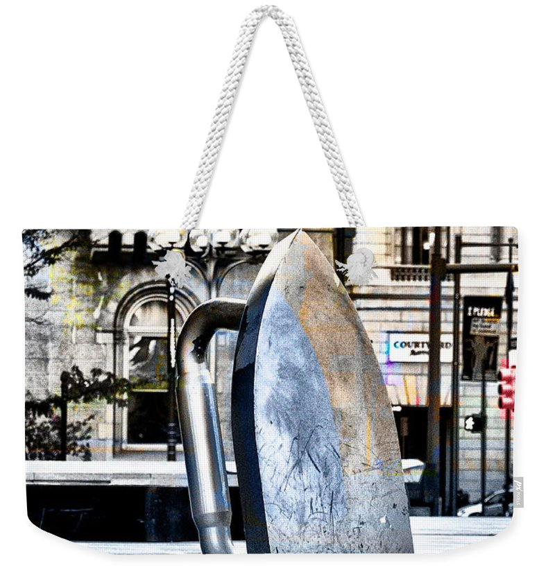 Monopoly Weekender Tote Bag featuring the photograph Monopoly Iron Statue In Philadelphia by Bill Cannon