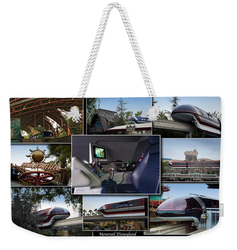 Rail Weekender Tote Bag featuring the photograph Monorail Disneyland Collage by Thomas Woolworth