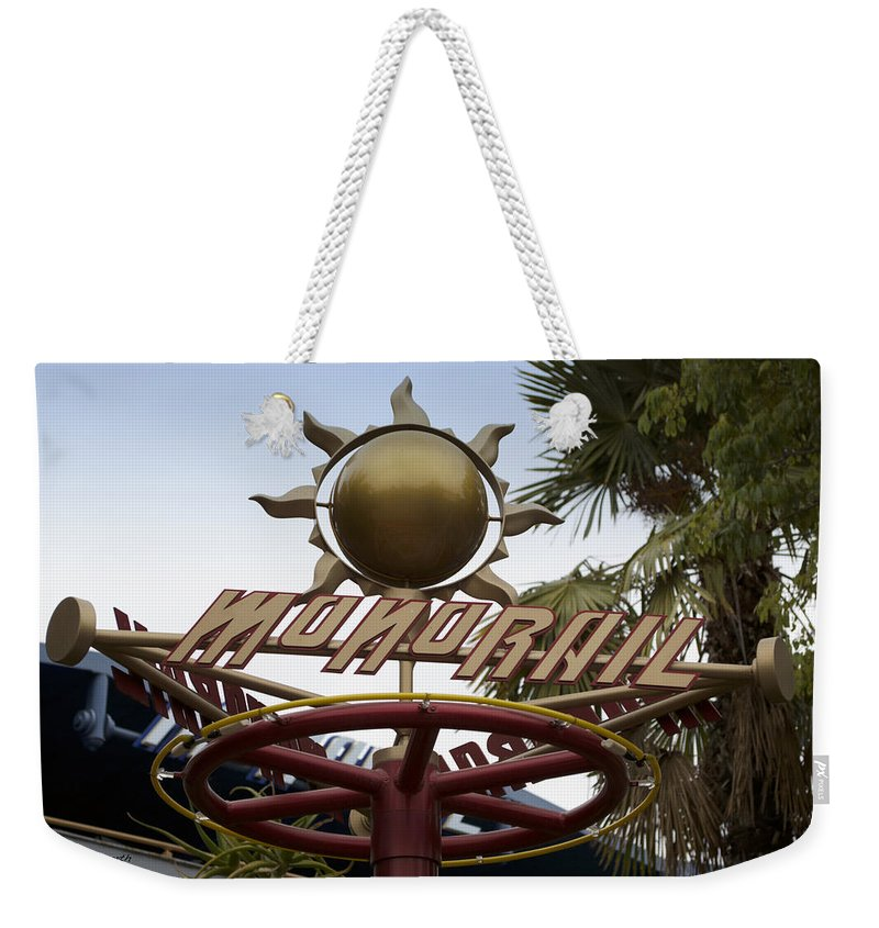 Rail Weekender Tote Bag featuring the photograph Monorail Signage Disneyland by Thomas Woolworth