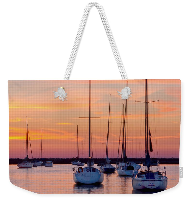 Chicago Weekender Tote Bag featuring the photograph Monroe Harbor Sunrise by Lindley Johnson