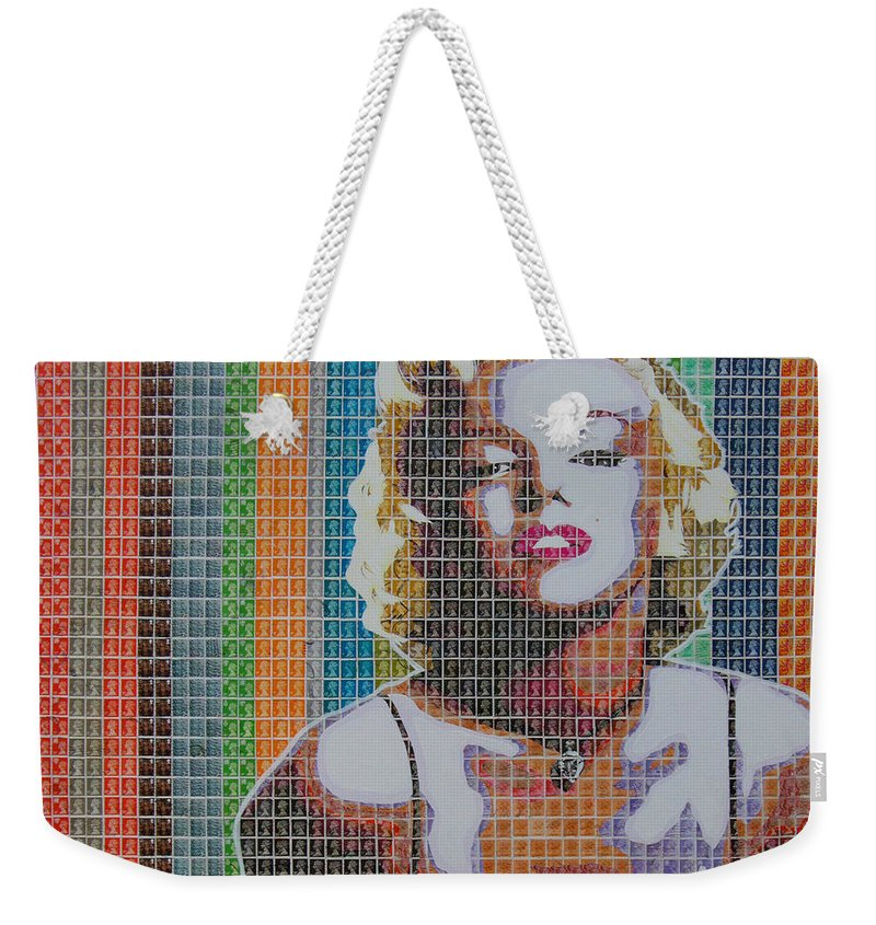 Marilyn Monroe Weekender Tote Bag featuring the painting Monroe In Stamps by Gary Hogben