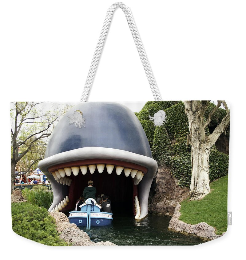 Disney Weekender Tote Bag featuring the photograph Monstro The Whale Boat Ride At Disneyland by Thomas Woolworth