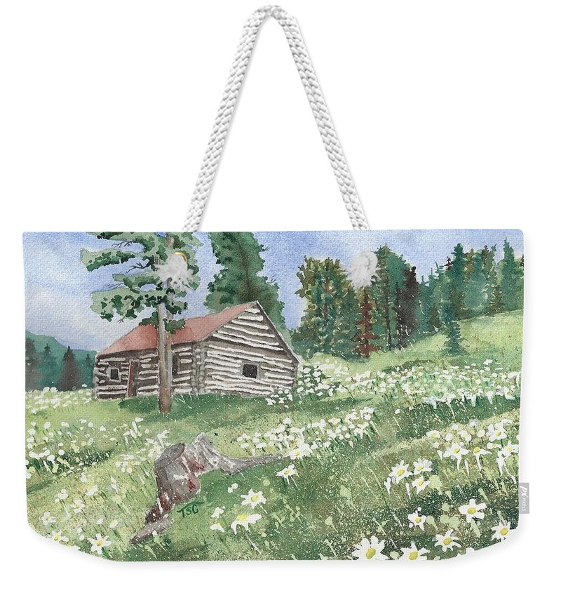 Cabin Weekender Tote Bag featuring the painting Montana Cabin by Tammy Crawford
