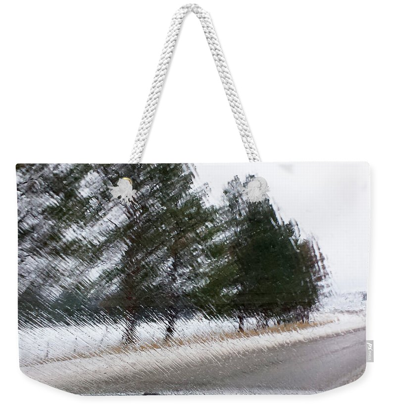 Rain Weekender Tote Bag featuring the digital art Montana Weather Report by Susan Kinney