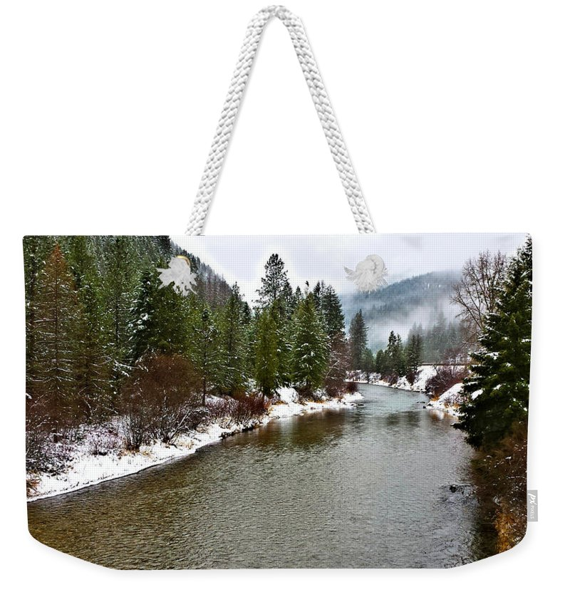 Montana Weekender Tote Bag featuring the photograph Montana Winter by Susan Kinney
