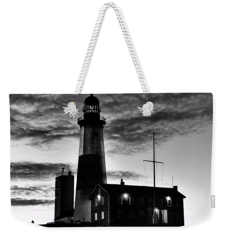 Black Weekender Tote Bag featuring the photograph Montauk Point by DJ Florek