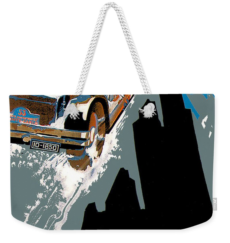 Vintage Automobile Ads And Posters Weekender Tote Bag featuring the photograph Monte Carlo Rallye Automobile by Vintage Automobile Ads and Posters