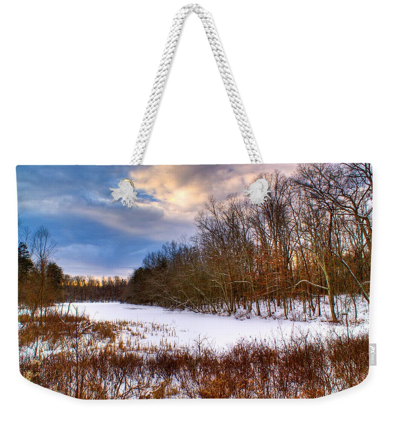 Monterey Weekender Tote Bag featuring the photograph Monterey Lake Snow Day by Douglas Barnett