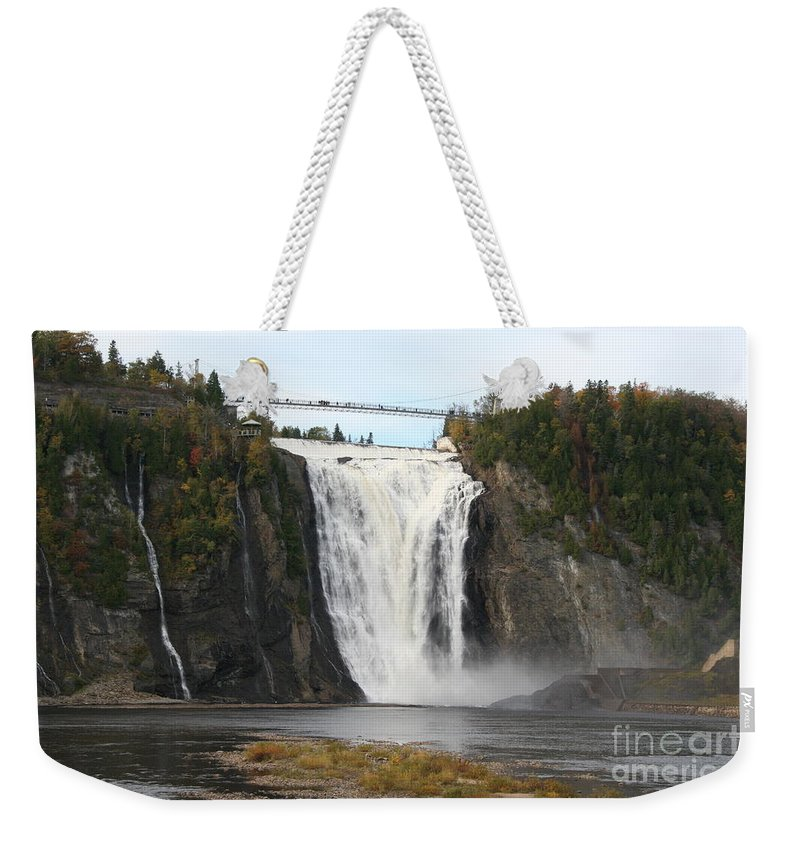 Waterfall Weekender Tote Bag featuring the photograph Montmorency Waterfall - Canada by Christiane Schulze Art And Photography