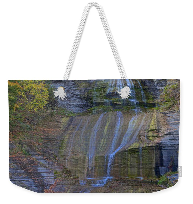 Montour Falls Fall Panorama Weekender Tote Bag featuring the photograph Montour Falls Fall Panorama by William Norton
