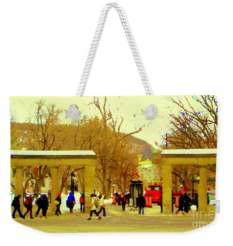 Weekender Tote Bag featuring the painting Montreal Memories Mcgill Students On Campus Roddick Gates Montreal Collectible Art Prints C Spandau by Carole Spandau