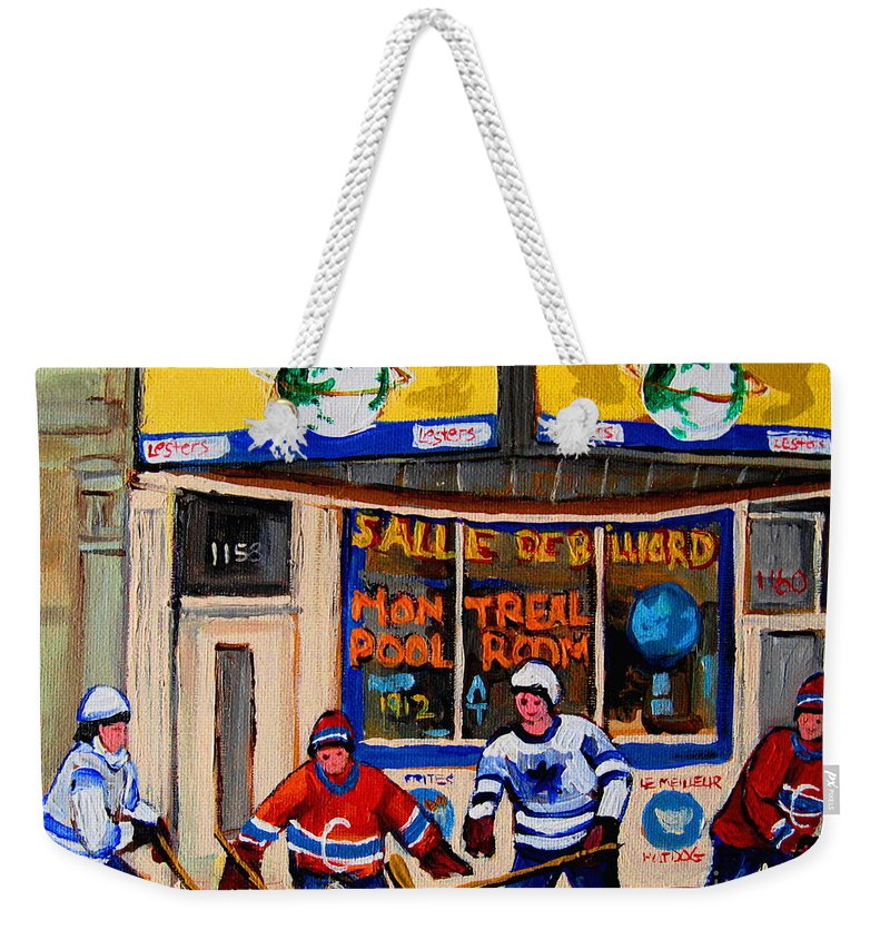 Montreal Weekender Tote Bag featuring the painting Montreal Pool Room City Scene With Hockey by Carole Spandau