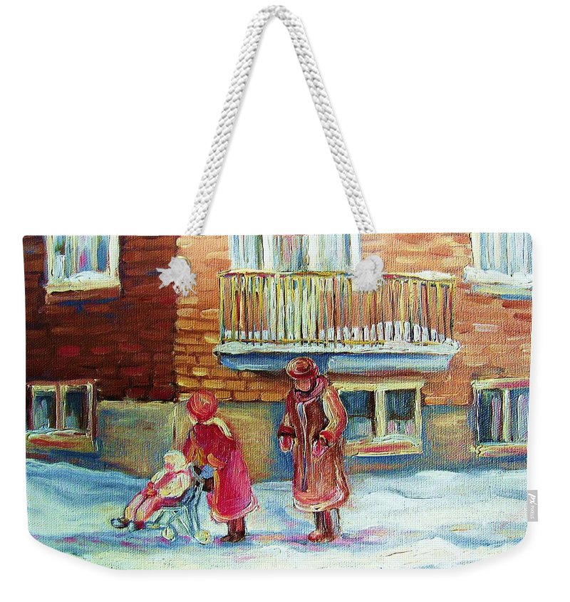 Montreal Weekender Tote Bag featuring the painting Montreal Winter Scenes by Carole Spandau