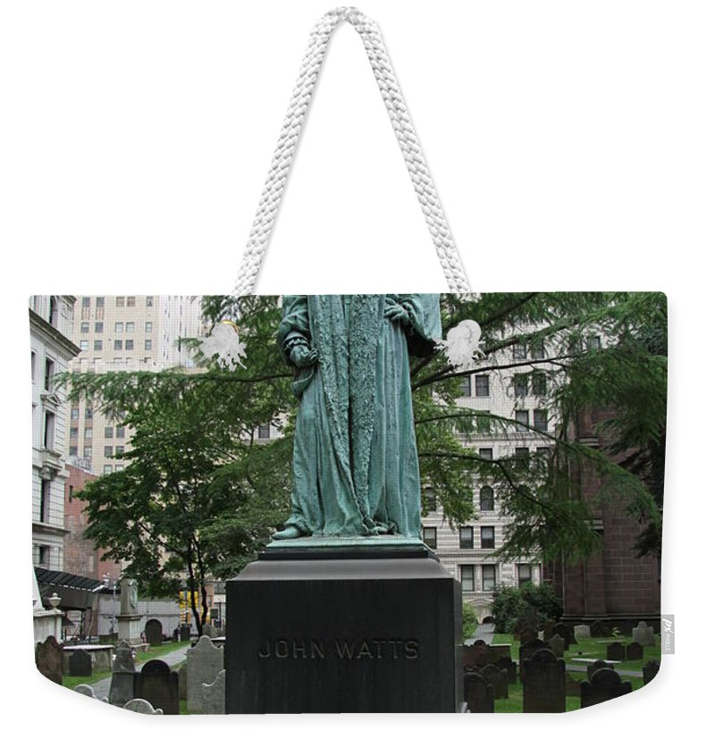 Johne Watts Sculpture Weekender Tote Bag featuring the photograph Monument John Watts Trinity Churchyard New York by Christiane Schulze Art And Photography