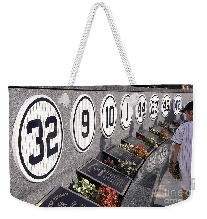 Monument Park Yankee Stadium. Monument Park Weekender Tote Bag featuring the photograph Monument Park - Yankee Stadium by Allen Beatty