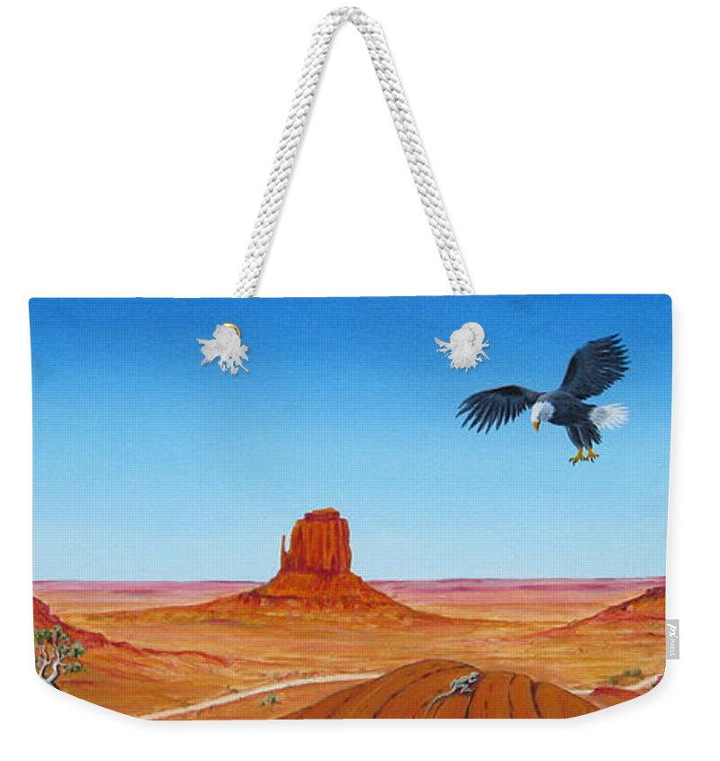 Monument Valley Weekender Tote Bag featuring the painting Monument Valley by Jerome Stumphauzer