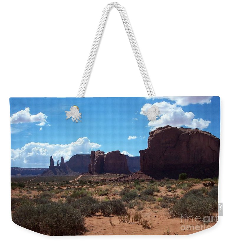 Monument Weekender Tote Bag featuring the photograph Monument Valley Scenic View by Christiane Schulze Art And Photography