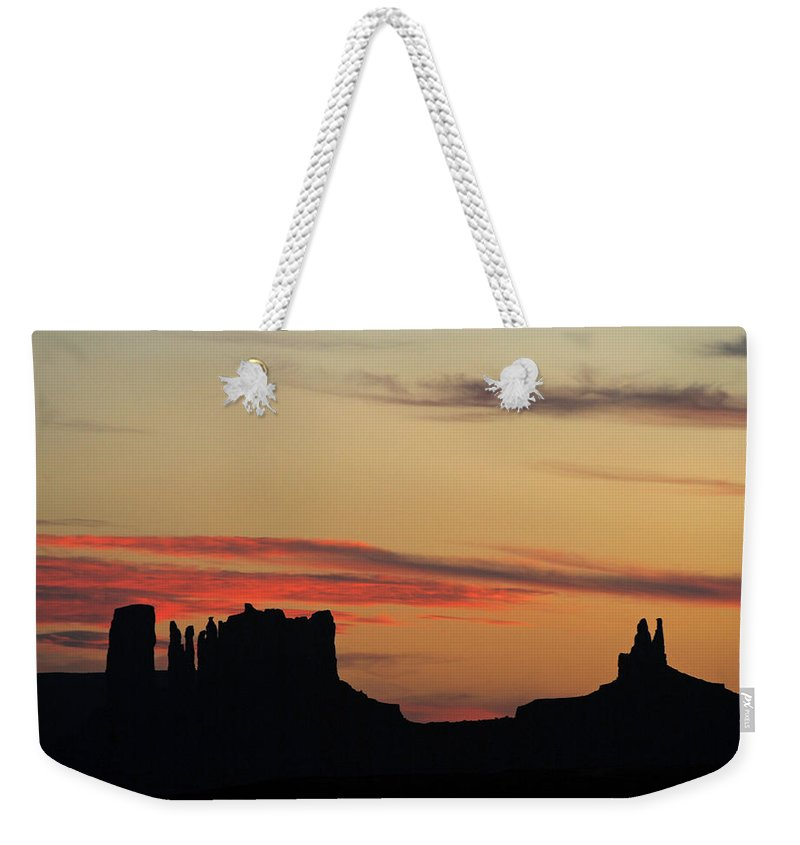Justjeffaz Weekender Tote Bag featuring the photograph Monument Valley Sunset 1 by Jeff Brunton