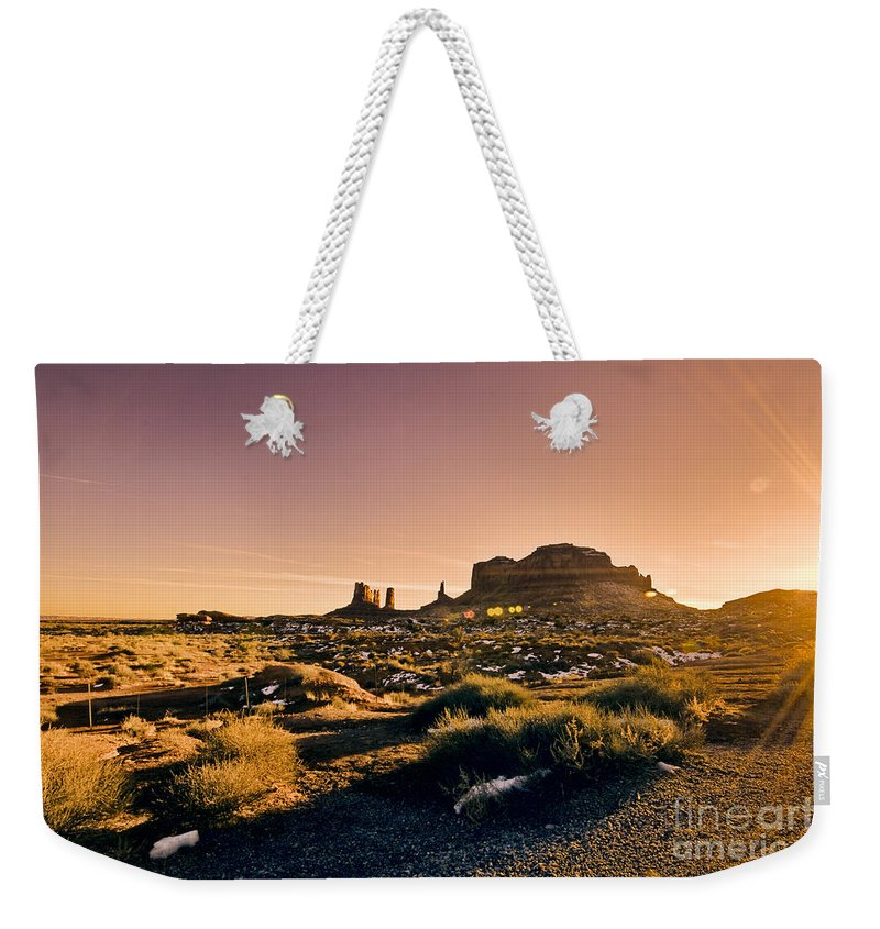 Monument Valley Weekender Tote Bag featuring the photograph Monument Valley -utah V7 by Douglas Barnard