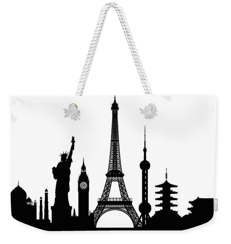 Clock Tower Weekender Tote Bag featuring the digital art Monuments Buildings Are Complete And by Leontura