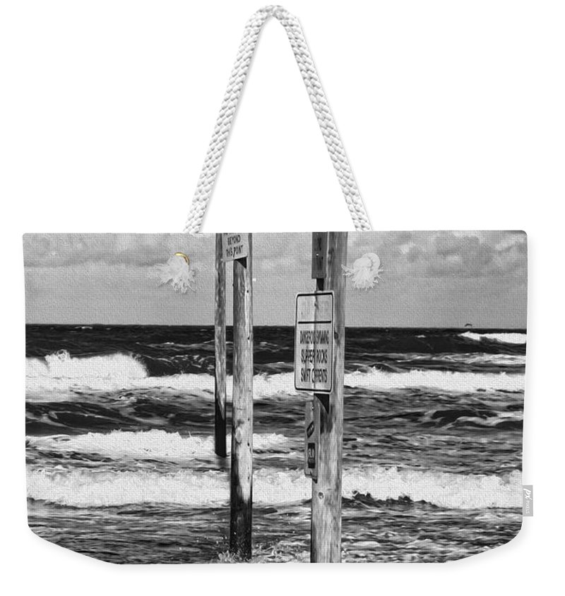 Beach Weekender Tote Bag featuring the photograph Moody Beach Day by Deborah Benoit