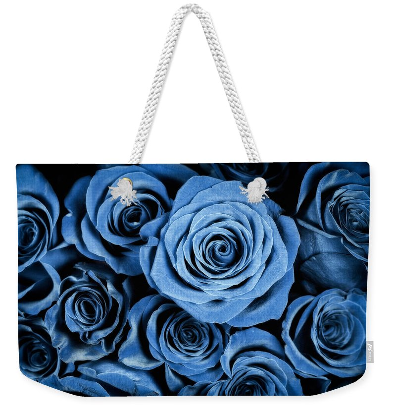 3scape Weekender Tote Bag featuring the photograph Moody Blue Rose Bouquet by Adam Romanowicz