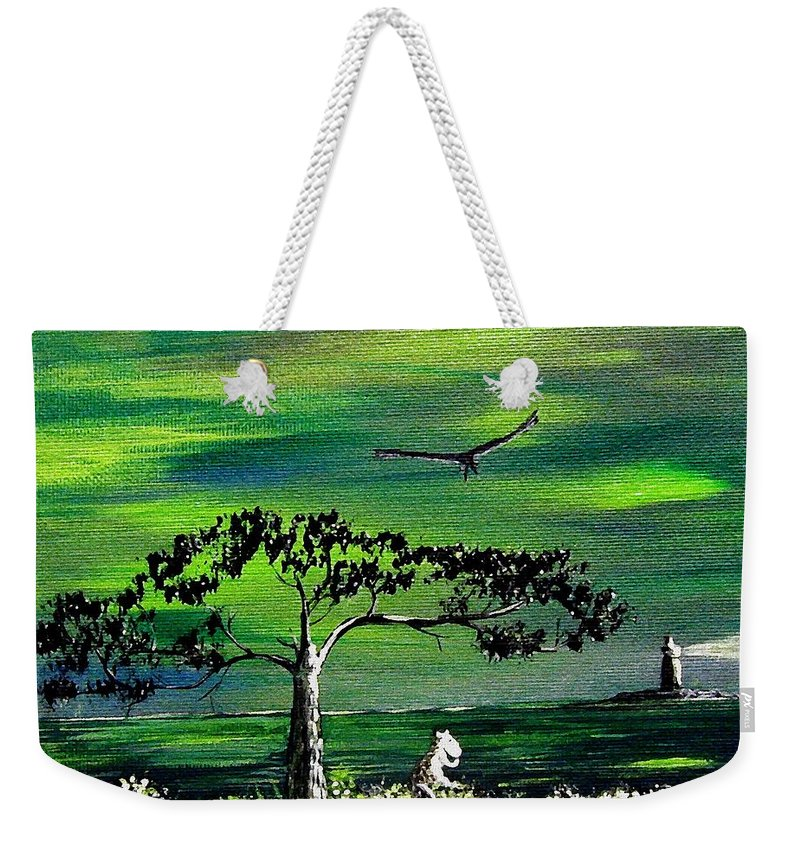 Decotarive Weekender Tote Bag featuring the painting Moomintroll And Lighthouse by Anastasiya Malakhova